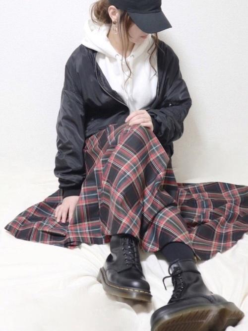 チェック柄フレアスカート