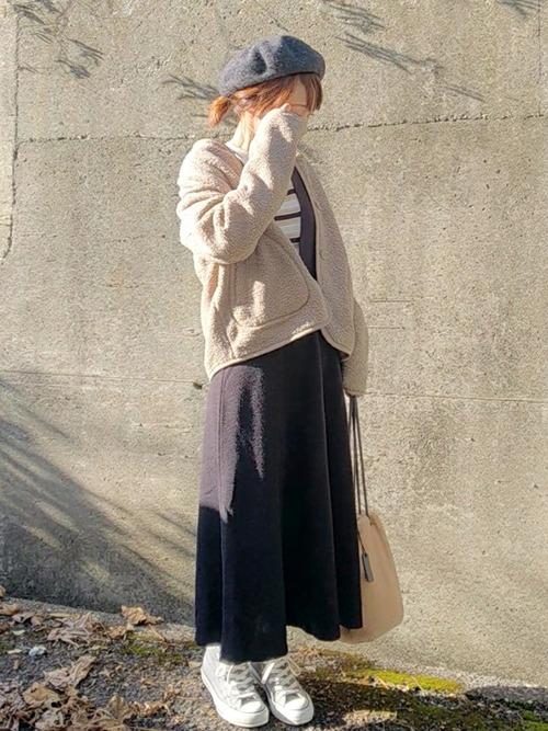 ベレー帽をスカートスタイルでガーリーにコーディネート6