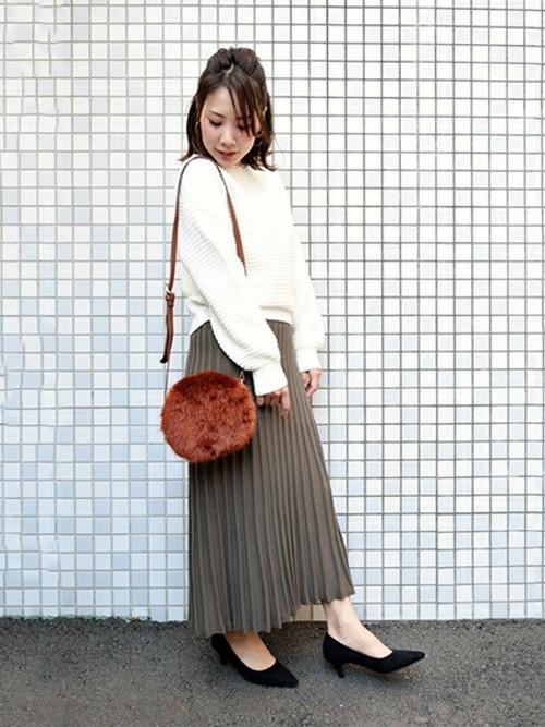 【セットアップ対応】 ニットプリーツスカート