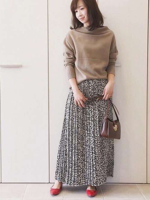 【PAGEBOY】レオパード柄プリーツスカート2