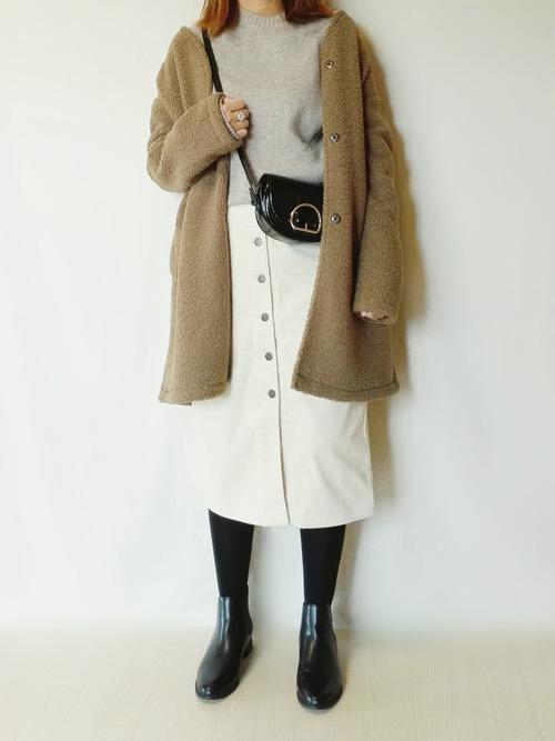 メンズニット×コーデュロイスカート