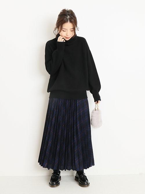 [Spick & Span] ウールチェックプリーツスカート◆