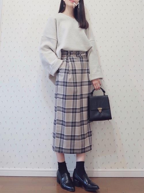 【LOWRYS FARM】タータンチェックタイトスカート2