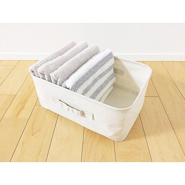 同じ大きさのタオルを揃えて入れただけの収納