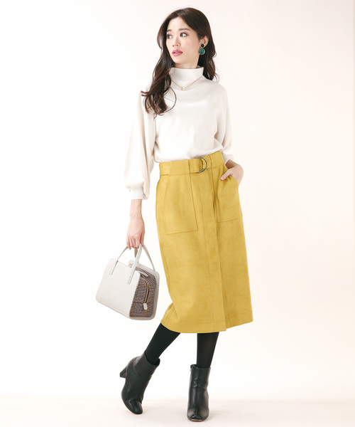 [BLUEEAST] M/Lサイズ ベルト付きストレッチフェイクスエードタイトスカート