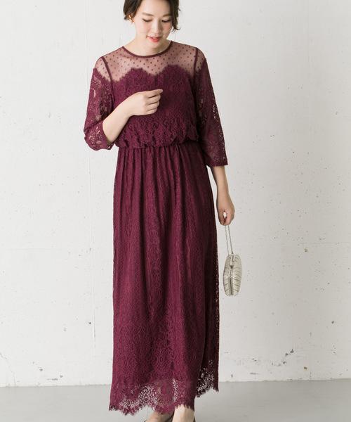 Chaco ドットチュール×パネルレースドレス