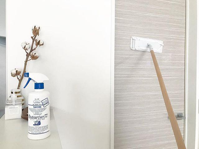 部屋の天井や壁を掃除する