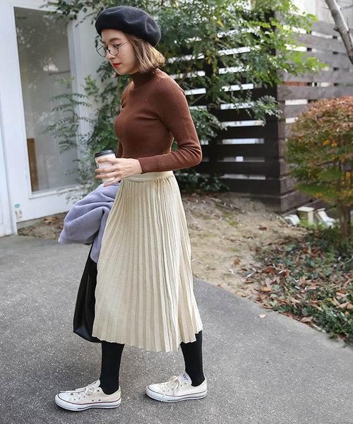 [select MOCA] ウエストゴム入りプリーツデザインひざ下丈ニットスカート