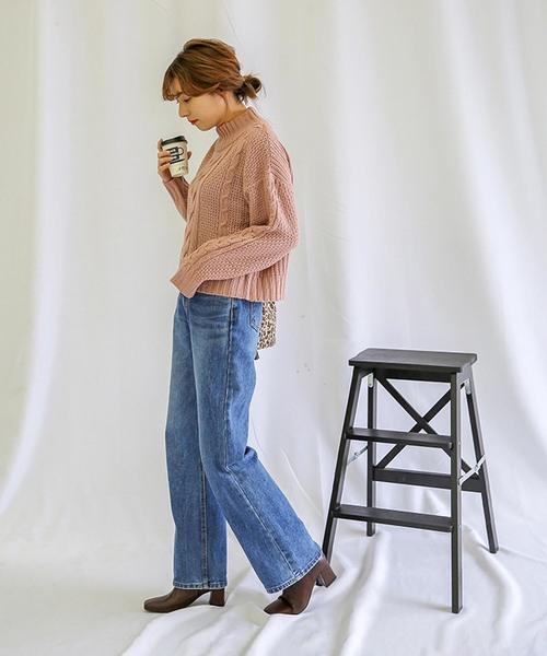 [select MOCA] 柔らかいペールカラーで春先まで使える◆ケーブル透かし編み長袖リブハイネックニット