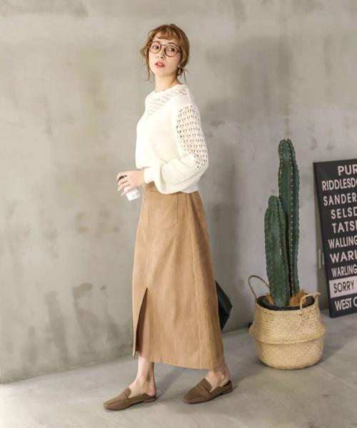 [select MOCA] スウェードタッチセンタースリットフロントポケット付きAラインひざ下丈ペンシルスカート