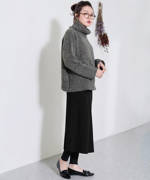 [reca] 大人のきれいめスタイルにぴったり◇暖か裏起毛で防寒も◎ウエストゴム細リブフレアスカート