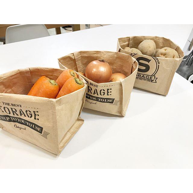 クラフトバッグに野菜を収納