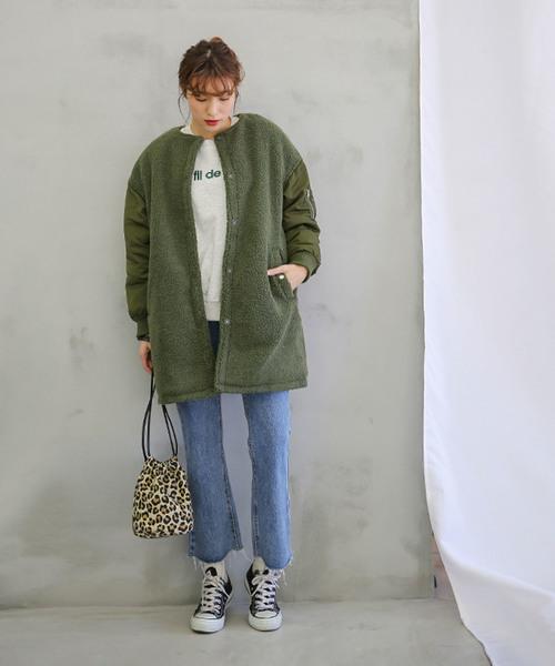 [select MOCA] ボア切替ノーカラーコート(MA-1両ポケット付きミディアム丈マガ袖ノーカラーコート)