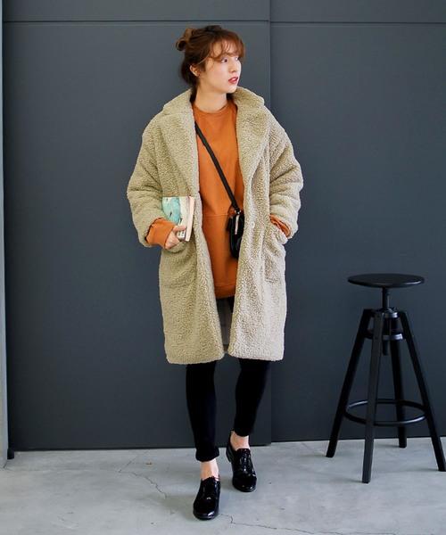 [select MOCA] プードルボアロングコート(ボア素材長袖フロントボタンサイドポケット付長袖コート)