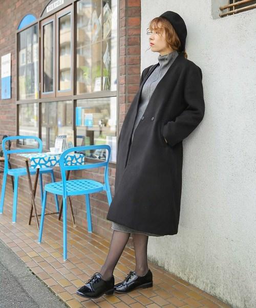 ノーカラーコート/美シルエットVラインサイドポケット付長袖コート