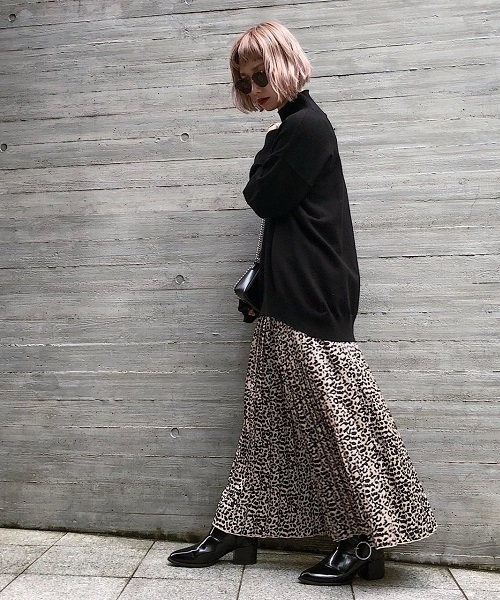 【PAGEBOY】レオパード柄プリーツスカート