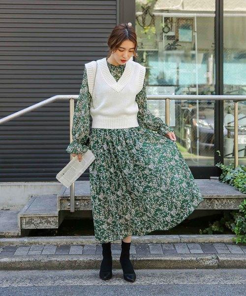 [select MOCA] 【2018 A/W】ショート丈ニットベスト/Vネックヘムリブ編みニット