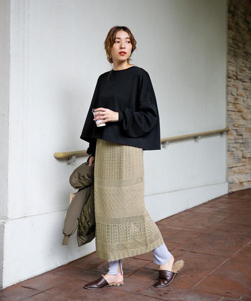透かし編みタイトスカート/ミックス編みウエストゴムロングスカート