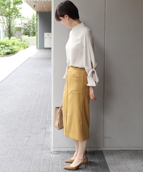 T/Wダブルクロス フープジップタイトスカート