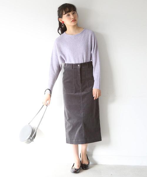 [coen] コーデュロイストレッチタイトロングスカート