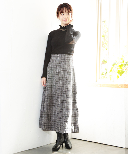 [SESTO] 起毛ツイードハイウエストフレアスカート