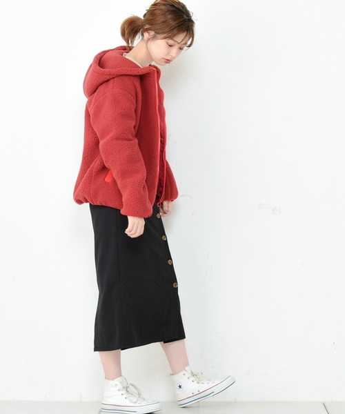 [natural couture] ボアフードブルゾン