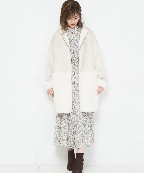 [natural couture] スウェード×ファーボンディングロングコート