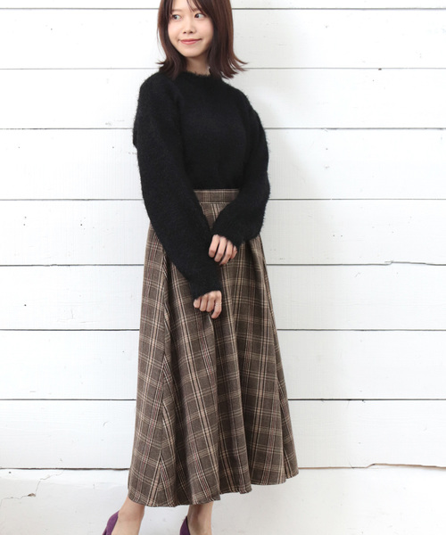 [SESTO] チェック柄ロングフレアスカート
