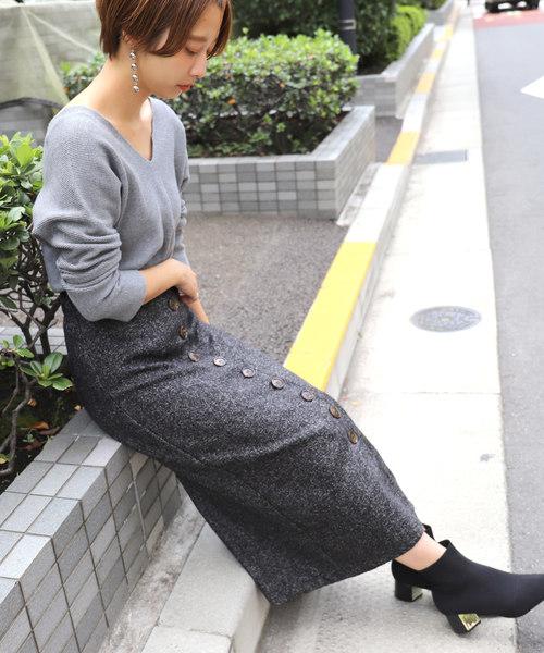 [coca] ツイード風フロントボタンタイトスカート