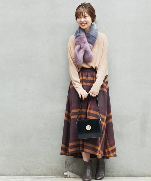 BIGチェックフレアスカート