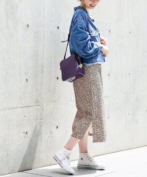 [natural couture] ヒョウ柄ゆるタイトスカート
