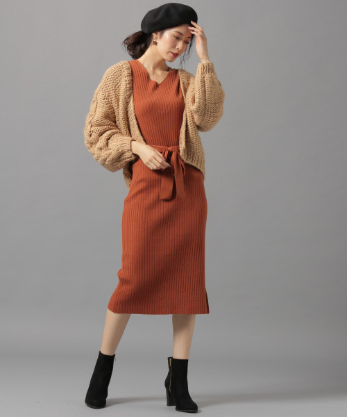 [Andemiu] 【オレンジ限定】リブIラインニットワンピース長袖808340