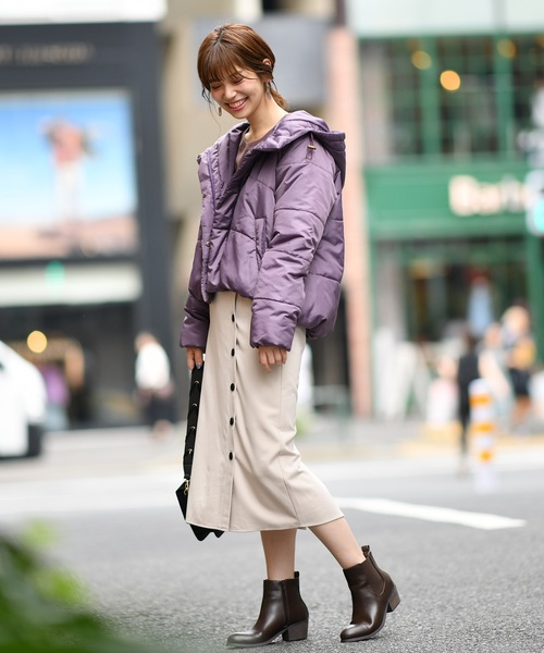 [natural couture] フード付きショート中綿フェイクダウン