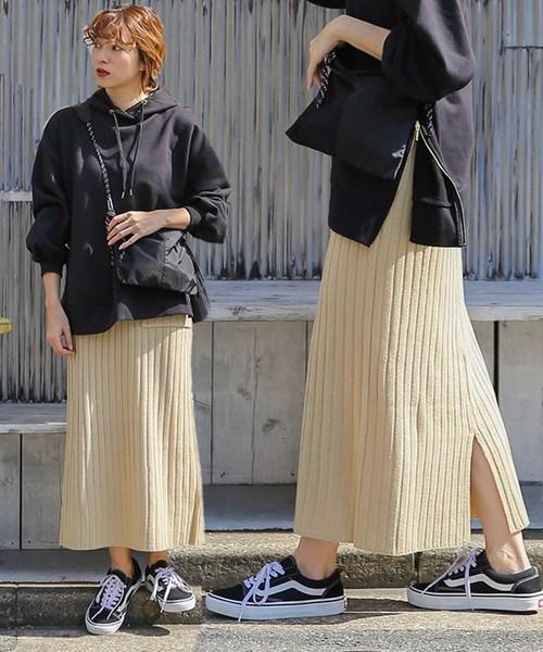 [select MOCA] リブニットスカート/美シルエット/バックスリット両ポケット付きロングスカート