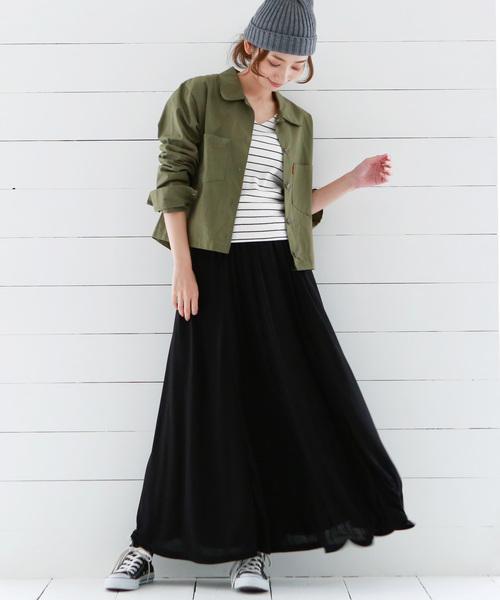 [Luz Llena] フレアロングスカート