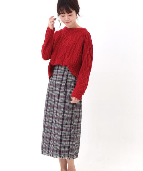 [SESTO] 起毛先染めオーバーチェックフリンジタイトスカート