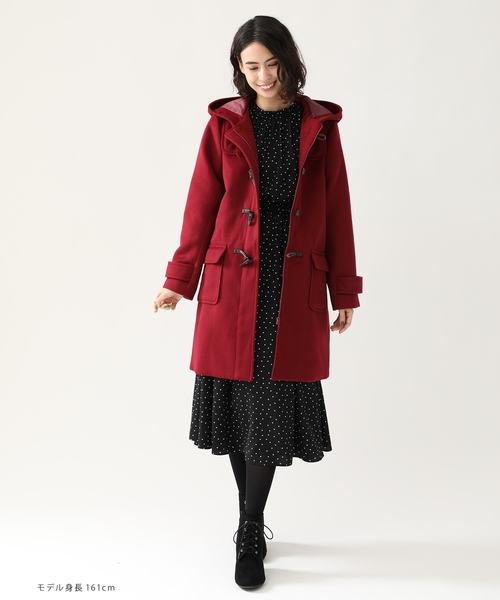 毎日着たいコートだから定番のシンプルデザインに 動きやすくてすっきり お気に入りの1着になること間違いなし ロングダッフルコート