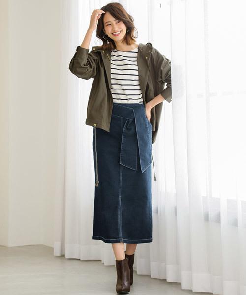 リボン付きデニムロングタイトスカート