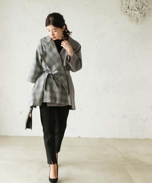 [cawaii] チェックバイカラーのAラインジャケット(グレー)。グレンチェックの配色が素敵な羽織