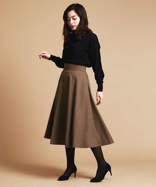 [MICHEL KLEIN HOMME] 【洗える】ウーリッシュチェックミディフレアスカート