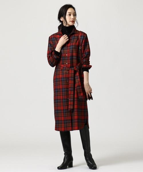 [L size ONWARD(大きいサイズ)] LOCHCARRON TARTAN CHECK CLEAR チェック シャツワンピース