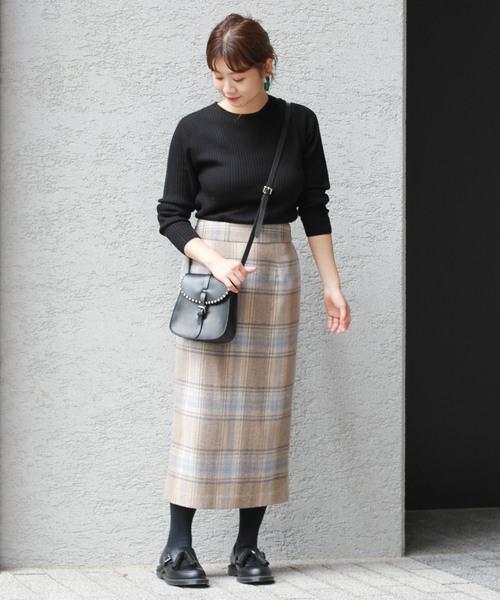 [JOURNAL STANDARD] TWシャギーチェック ロングスカート