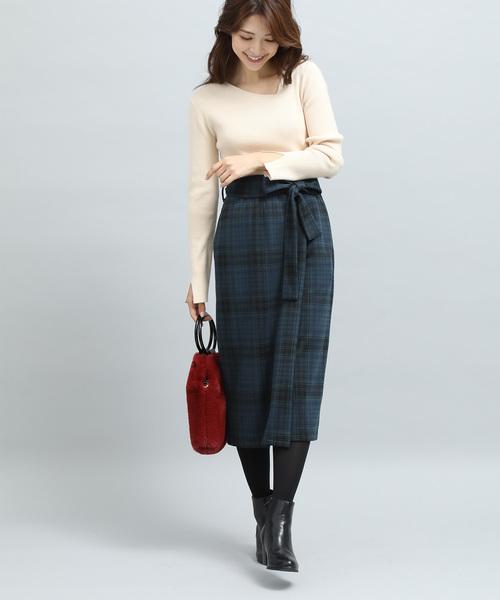 [ViS] 【WEB限定】チェックジャガードリボンツキタイトスカート