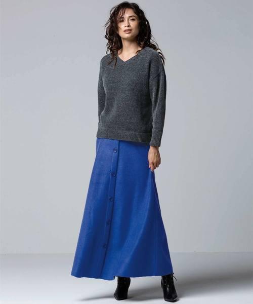 [Ranan] フロントボタンフレアースカート