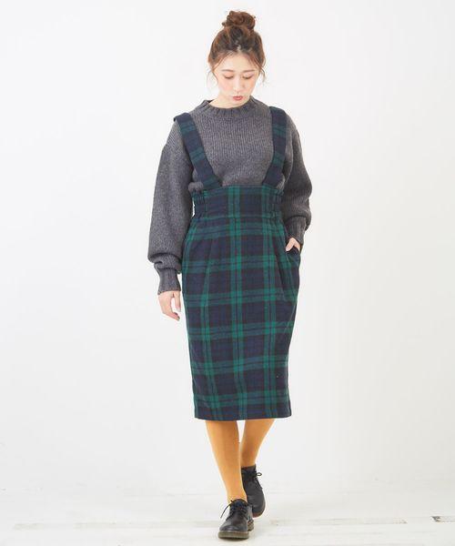 [CUBE SUGAR] WEB限定 チェック柄ハイウエストジャンパースカート