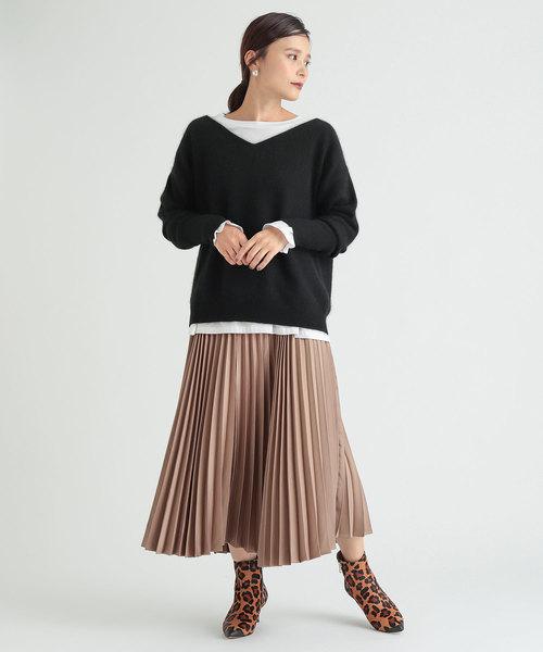 [mystic] サテンプリーツスカート