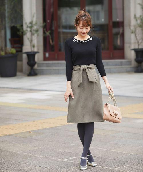 [tocco closet] ウエストリボンスエードタイトスカート
