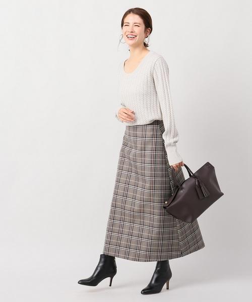 [IENA] wool トラペーズスカート◆
