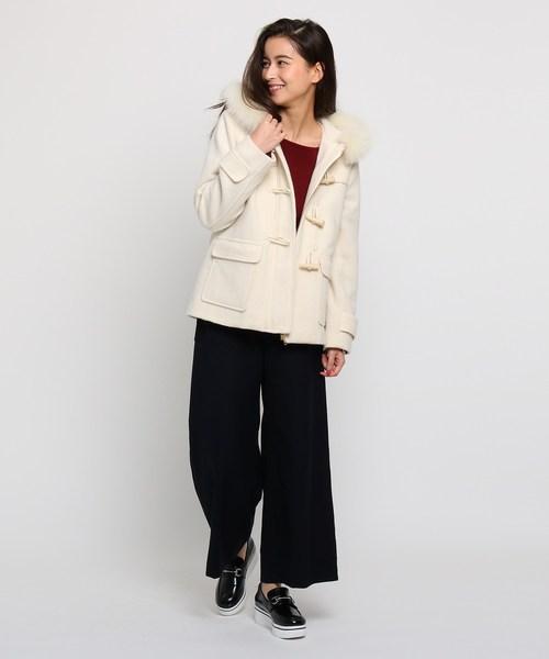 【2WAY】ファー付ショート丈ダッフルフードコート