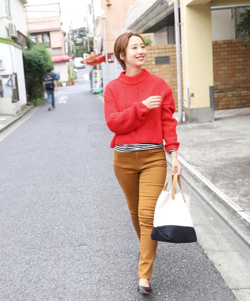[coca] シンプルデザインショート丈ニット